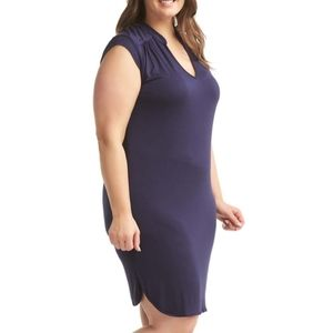 Lemon Tart 4X Mellie Blue V-Neck Sheath Dress